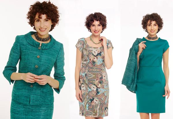 Smaragdgrün kombiniert mit klassischem Foulard-Muster...